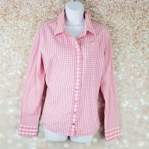 Isaac Mizrahi For Target XL Pink Gingham check top